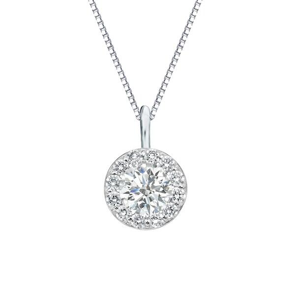 Auriya 3/4cttw Round Halo Diamond Necklace 14k Gold