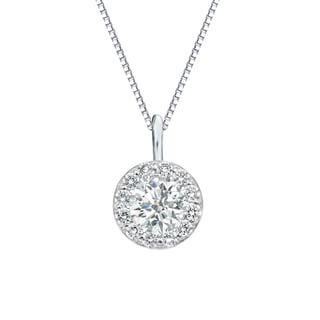 Auriya 14k Gold 3/4ct TDW Round-Cut Diamond Halo Necklace (I-J, SI2-SI3)