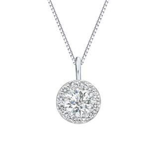Auriya 14k Gold 3/4ct TDW Round-Cut Diamond Halo Necklace