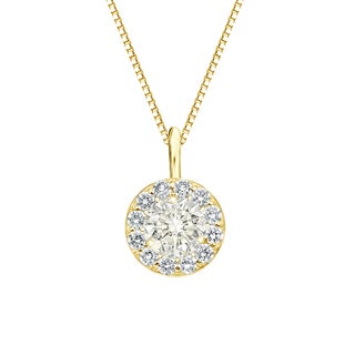 Auriya 14k Gold 3/4ct TDW Round-Cut Diamond Halo Necklace (J-K, I1-I2)