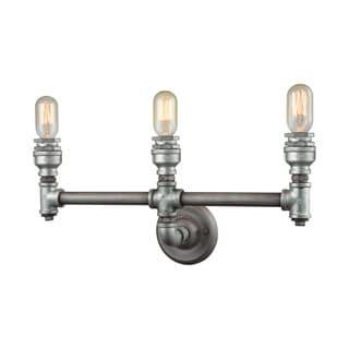 Elk Cast Iron Pipe 3-light Vanity in Weathered Zinc