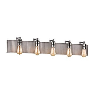 Elk Corrugated Steel 5-light Vanity in Weathered Zinc and Polished Nickel