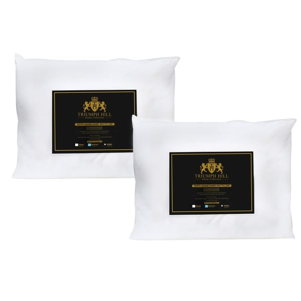 Triumph Hill Cotton White Down Bed Pillows (Set of 2)