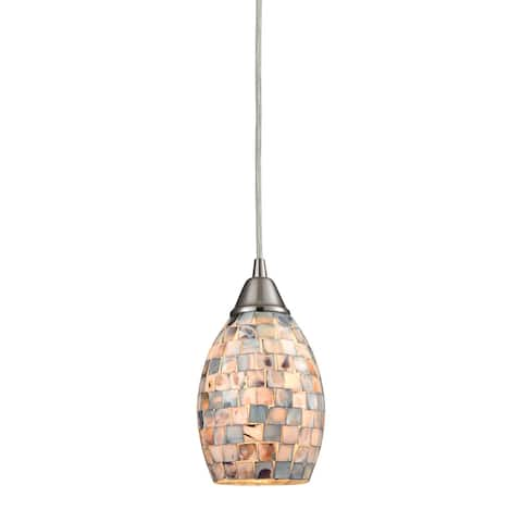 Capri 1-Light Mini Pendant in Satin Nickel with Gray Capiz Shells on Glass by ELK Lighting
