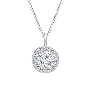 Auriya 14k Gold 1ct TDW Round-Cut Diamond Halo Necklace (H-I, SI1-SI2)