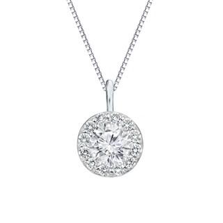 Auriya 14k Gold 1ct TDW Round Diamond Halo Necklace