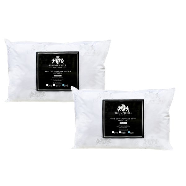 Triumph Hill Cotton White Feather and Down Bed Pillow (Set of 2)