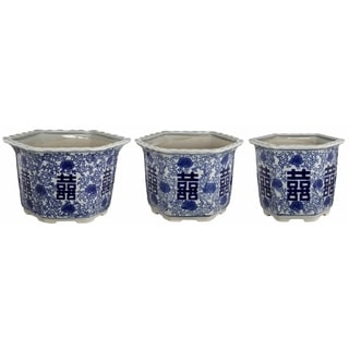 Ceramic Blue and White Painted Asian Character Pots (Set of 3)
