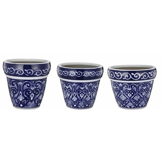 Ceramic Blue and White Painted Pots (Set of 3)