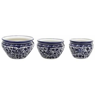 Ceramic Blue/ White Floral Pots (Set of 3)
