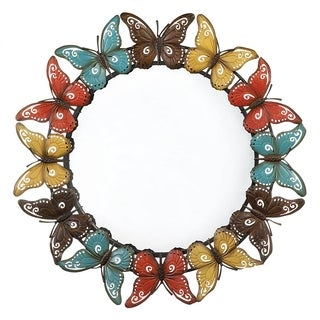 Circular Multi-colored Butterfly Mirror