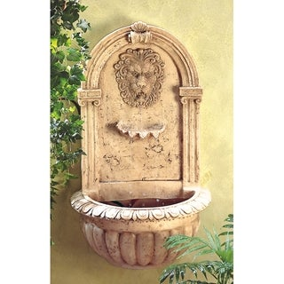 Sandstone Lion Face Wall Fountain