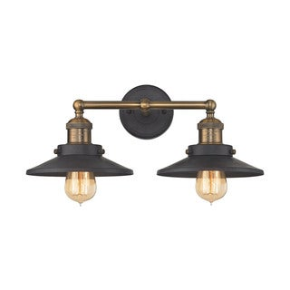 Elk English Pub 2-light Vanity in Tarnished Graphite and Antique Brass