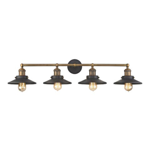 Elk English Pub 4-light Vanity in Tarnished Graphite and Antique Brass