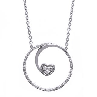 Beverly Hills Charm Sterling Silver 1/4ct TDW Diamond Floating Heart Necklace