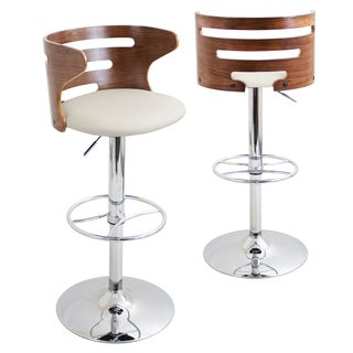 Cosi Mid-Century Modern Adjustable Barstool in Walnut Wood and Cream Faux Leather