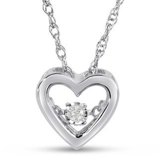 Shimmering Stars Collection Heart Diamond Accent Necklace in Sterling Silver (H-I, I1-I2)