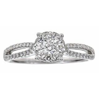 18k White Gold 3/5ct TDW Diamond Pave Vintage Ring