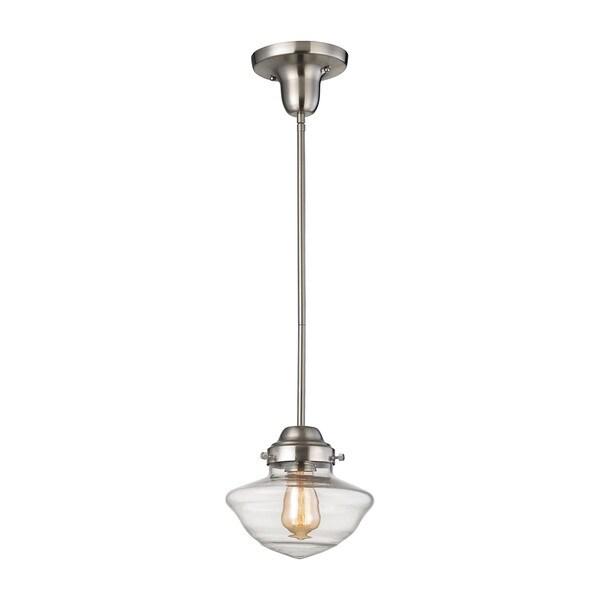 elk schoolhouse pendants 1 light led pendant in satin nickel free. Black Bedroom Furniture Sets. Home Design Ideas