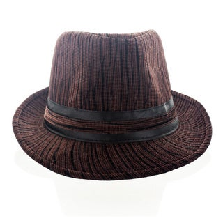 Faddism Men's Textured Fashion Fedora Hat in Brown