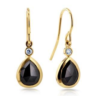 Annello by Kobelli 14k Yellow Gold 2 1/2ct TDW Rose Cut Pear Shape Black Diamond Fish Hook Earrings https://ak1.ostkcdn.com/images/products/11346021/P18319844.jpg?impolicy=medium