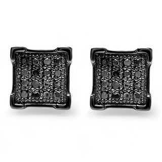 Elora Black over Sterling Silver Men's 1/10ct TDW Black Diamond V-prong Square Shape Iced Stud Earrings