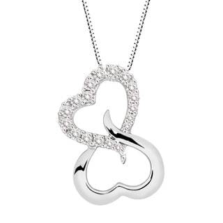 Sterling Silver Double Open Heart Diamond Pendant Necklace