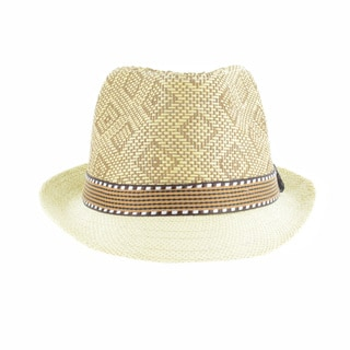 Faddism Men's Fashion Straw Plaid Fedora Hat