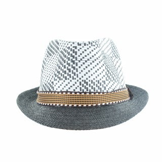 Faddism Men's Fashion Straw Brim Plaid Fedora Hat