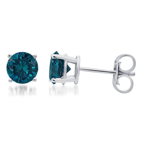 Divina 14k White Gold 1ct TDW Blue Diamond Stud Earrings