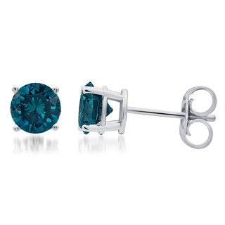 Divina 14k White Gold 1ct TDW Blue Diamond Stud Earrings (Blue, I2-I3)