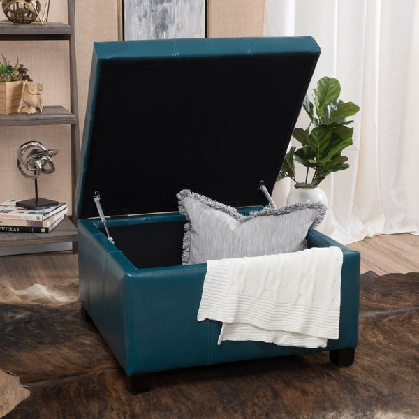 Cortez Faux Leather Storage Ottoman By Christopher Knight