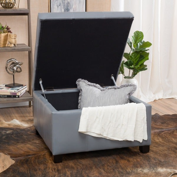 Cortez Faux Leather Storage Ottoman by Christopher Knight Home