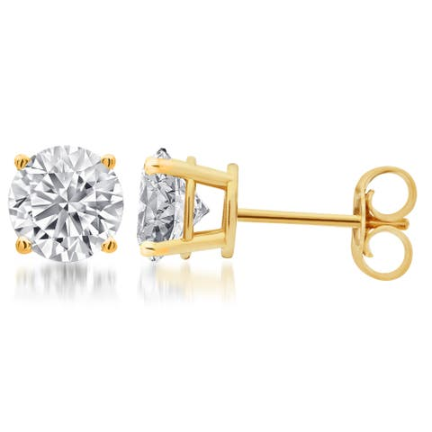 Divina Sterling Silver Round Diamond Solitaire Stud Earrings