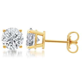 Divina Sterling Silver Round Diamond Solitaire Stud Earrings (I-J, I2-I3)