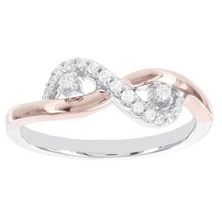 H Star Sterling Silver and 10k Rose Gold 1/2ct Diamond Swirl Promise Ring (I-J, I2-I3)