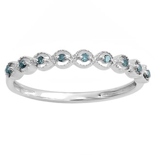 Sterling Silver 1/10ct TDW Blue Diamond Anniversary Stackable Band