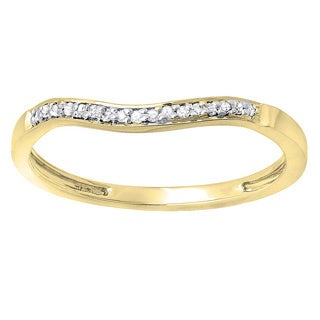 Elora 14k Gold 1/10ct TDW Round Diamond Anniversary Wedding Band Guard Ring