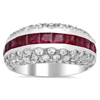14k White Gold 1 5/8ct TDW Diamond and Ruby Ring (F-G, VS1-VS2)