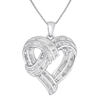 Sterling Silver 1ct TDW Diamond Baguette Cut Heart Necklace (I-J, I2-I3)