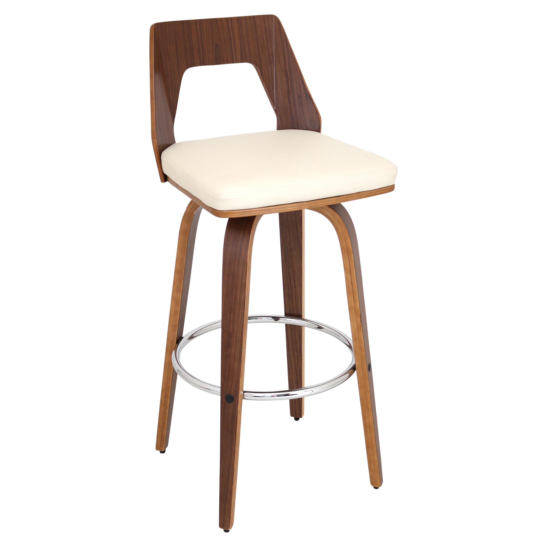 Trilogy mid century modern walnut wood swivel bar stool