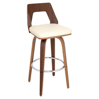 Trilogy Mid Century Modern Swivel Barstool in Walnut Wood