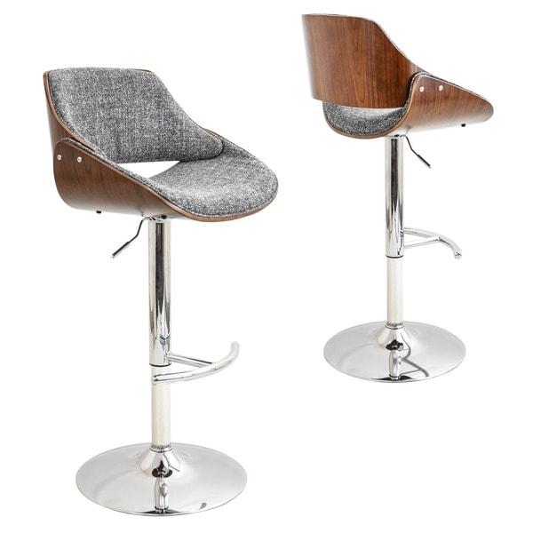 Strick & Bolton Blakey Mid-century Modern Walnut Wood and Fabric Adjustable Barstool