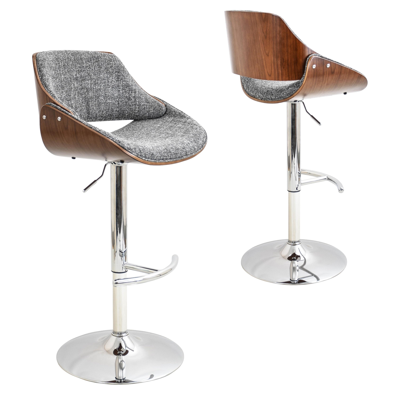 Exceptionnel Strick U0026 Bolton Blakey Mid Century Modern Walnut Wood And Fabric Adjustable  Barstool