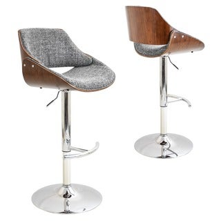 Fabrizzi Mid-Century Modern Walnut Wood and Fabric Adjustable Barstool
