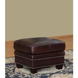 Lazzaro Leather Simplicity Leather Ottoman