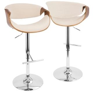 Curvo Mid Century Modern Adjustable Barstool in Walnut Wood