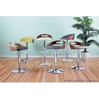 Cassis Mid Century Modern Walnut Wood Adjustable Barstool