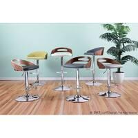 Carson Carrington Marstrand Mid-Century Modern Walnut Wood/Faux Leather Adjustable Barstool