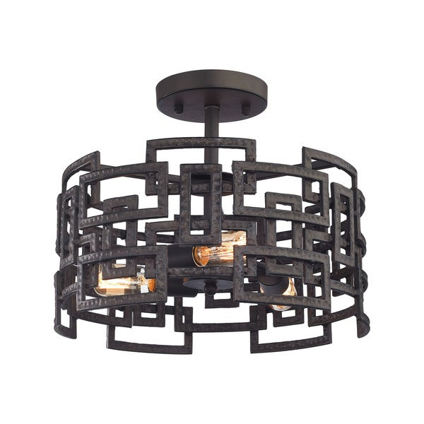 Elk Garriston 3-light LED Semi Flush in Clay Iron